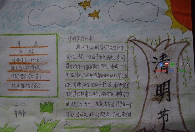 2015年关于清明节的手抄报素材:清明节起源图片
